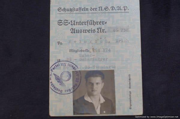 SS Ausweis Unterfuhrer Erich Helmrich Jay Gillespie collection