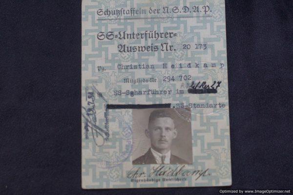 SS Ausweis Scharfuhrer Christian Heidkamp