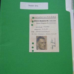 SS Fuhrer Ausweis for Theodor Sorg