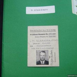 SS Fuhrer Ausweis for Dr. Kinkelin, Wilhelm Brigadefuhrer