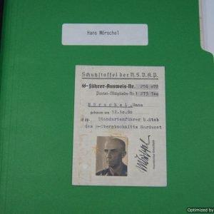 Ausweis and Research file for Hans Muschel SS Standartenfuhrer