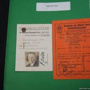 SS Ober-fuhrer Hans Kersten Ausweis
