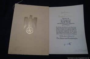Promotion to Major Signed by von Brauchitsch