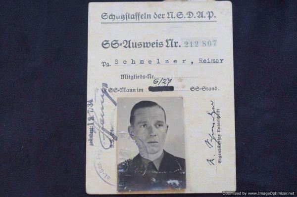 SS Ausweis Reimar Schmelzer Jay Gillespie collection