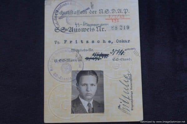 SS Ausweis Oskar Fritzsche Jay Gillespie collection