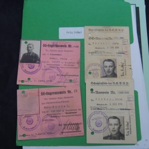 SS concentration camp Guard Ausweis and research File