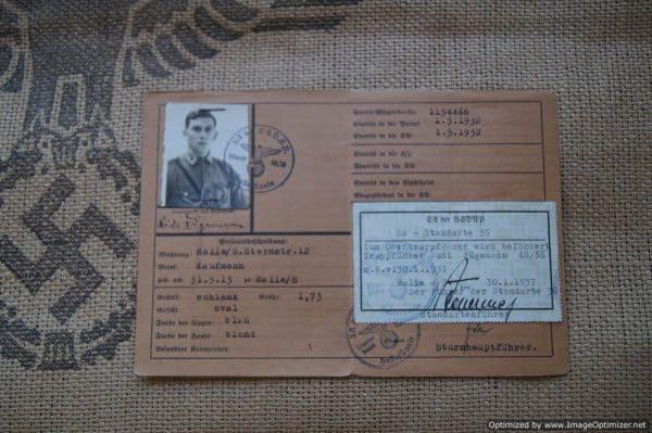 SA Ausweis for Rudi Fugemann Obertruppfuhrer