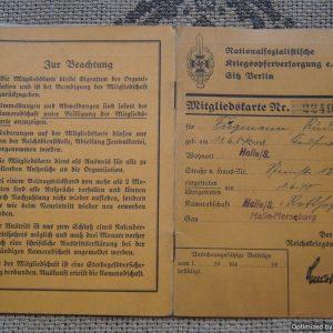 "NSKOV Membership book ""Rudolf Fugemann"""