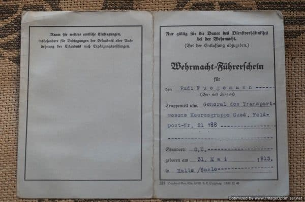 Heer Drivers license Rudi Fugemann