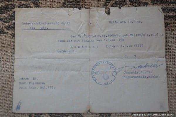 Enlistment Paper to Rudi Fugemann