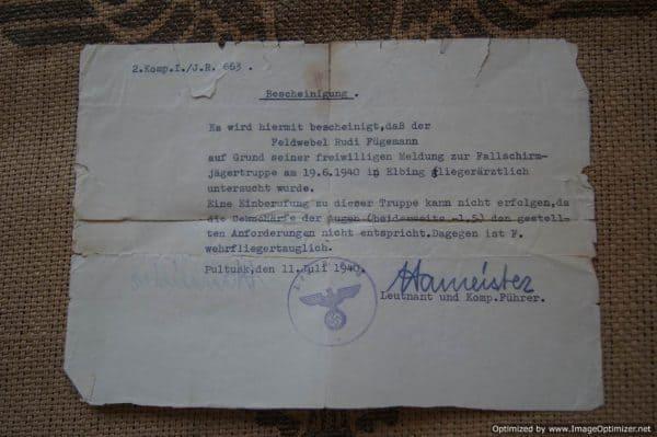 Eye Test Certificate for applying to the Fallschirmjagertruppe