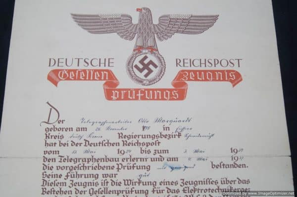 Deutsche Reichspost Certificate