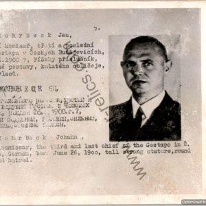 "Czechoslovakian SS Gestapo (Sipo-SD) allied ""wanted"" Card"