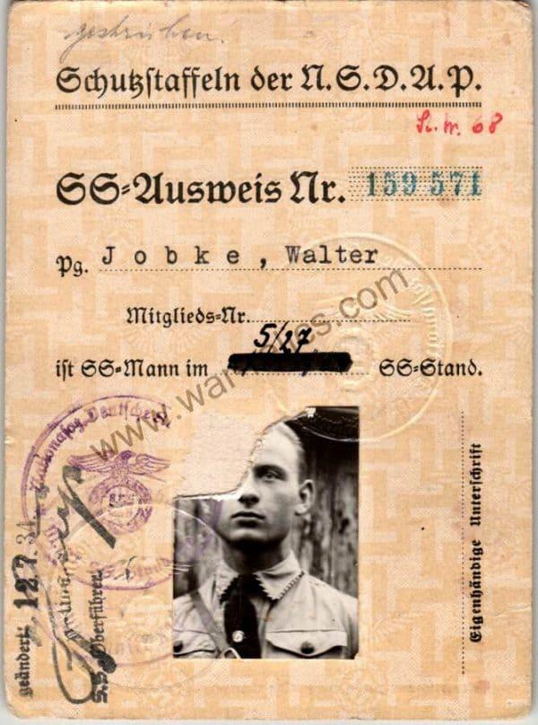SS Ausweis Walter Jobke