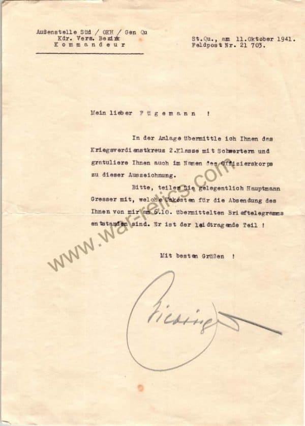 Congratulatory Letter regarding the award of War merit cross with swords