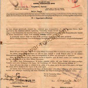 Release From Internment camp Document Rudolf Fugemann