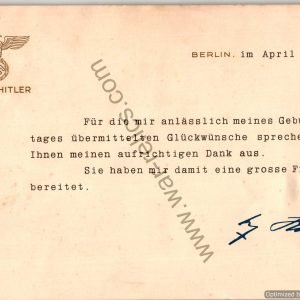 Adolf Hitler Gold embossed Correspondence card Fugemann