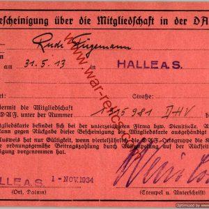Early DAF Membership card City of Halle Rudi Furgemann