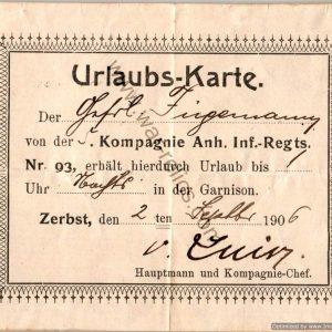 WW1 German Holiday passes set of 3 to Rudolf Fugemann