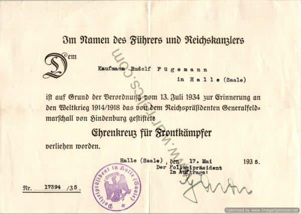 WW1 Honor cross award certificate for Rudolf Fugemann in Halle