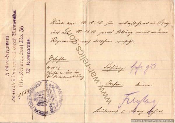 1918 German Military note/order