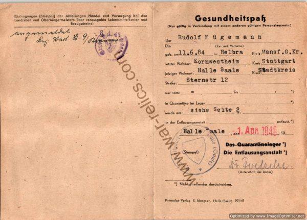 1946 German Health pass Rudolf Fugemann
