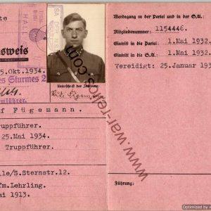 SA Ausweis Rudolf Furgemann