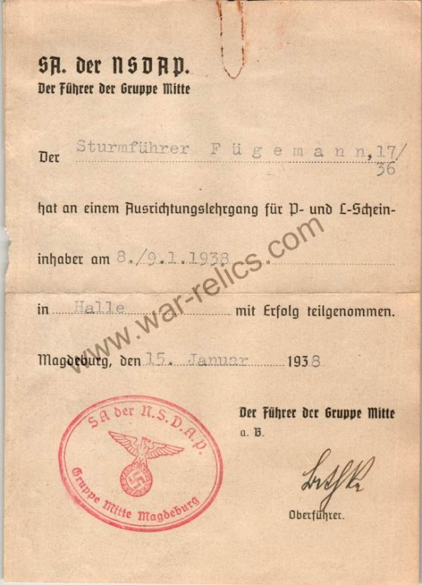1938 SA Orientation Certificate for Fugemann