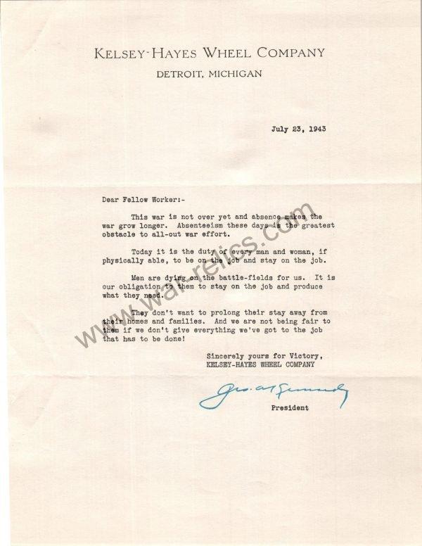 Kelsey-Hayes Wheel Co. Memo RE: Absenteeism july 23 1943