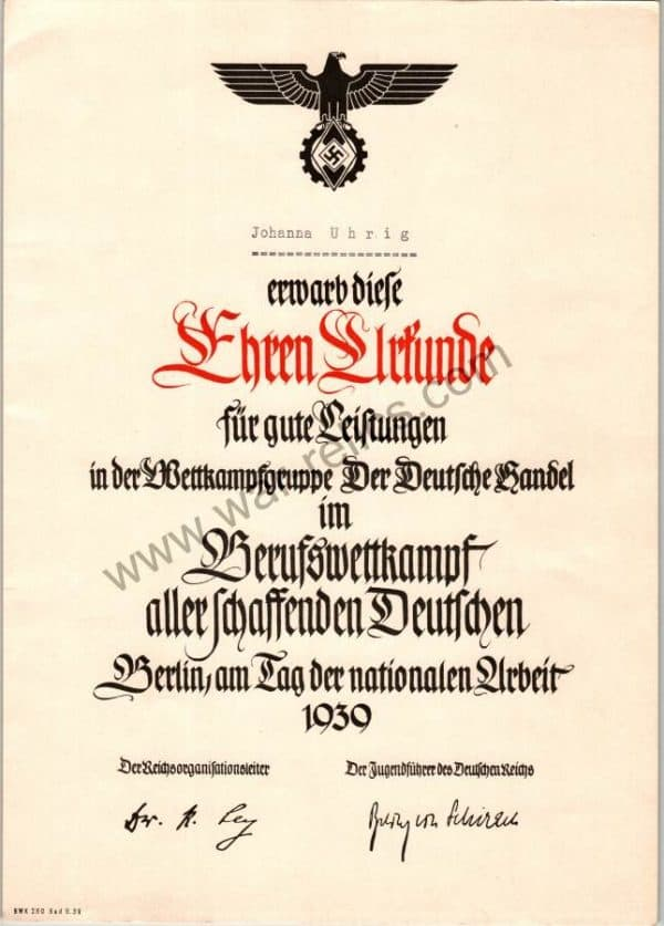 Hitler youth Honorary Sports Certificate