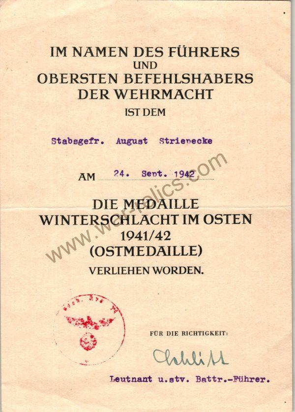 SMGL-2809 Award Document Ost Medal (eastern front)