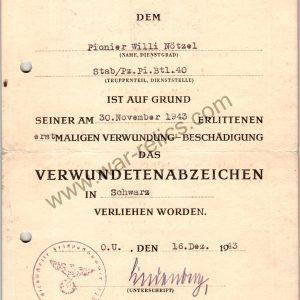 Black Wound Badge Award Document Panzer Pioneer
