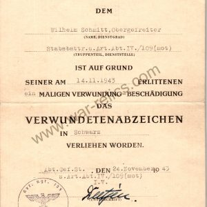 Award Document for black wound badge Headquarter Artillery Battery