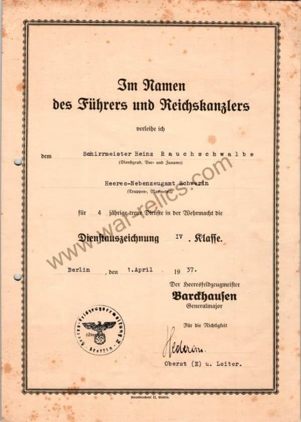 SGM-1327 4 Year Heer Service Award Doc Signed by A General Major