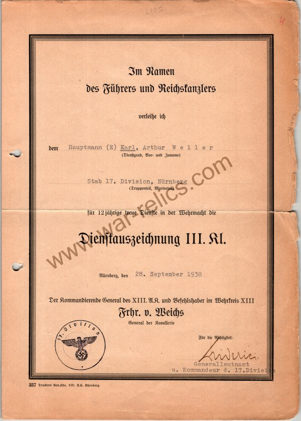 SMGL-2848 12 year Service Award signed by Leutnant General Erich Friderici DKiS Winner