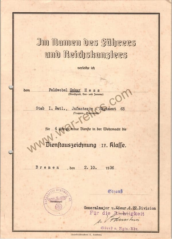 SMGL-2850 4 year Service Award signed by Knights cross Winning general of the 19th Army George Von Sodenstern