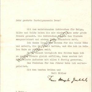 Magda Goebbels signed letter on personal stationary
