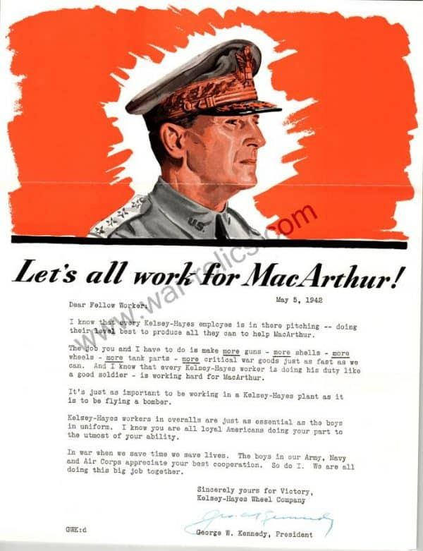 "SMGL-2927 Kelsey-Hayes Wheel Company Propaganda Memo ""MacArthur"""