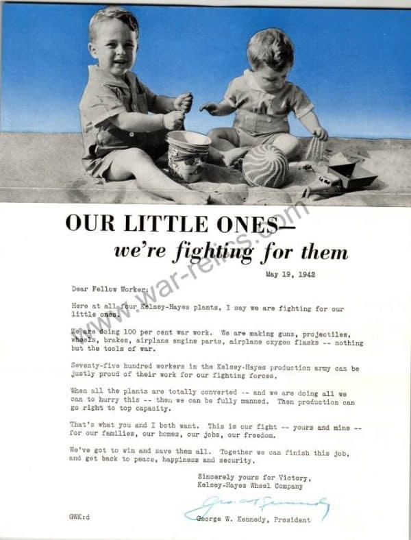 """SMGL-2928 Kelsey-Hayes Wheel Company Propaganda Memo """"Little ones"""""""