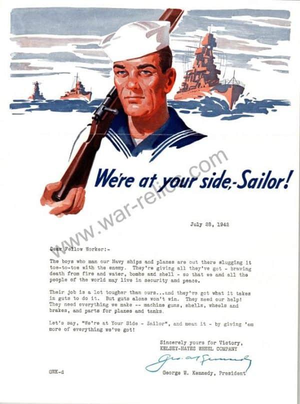 "SMGL-2916 Kelsey-Hayes Wheel Company Propaganda Memo ""Sailor"""