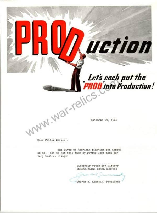 "SMGL-2918 Kelsey-Hayes Wheel Company Propaganda Memo ""PRODUCTION"""