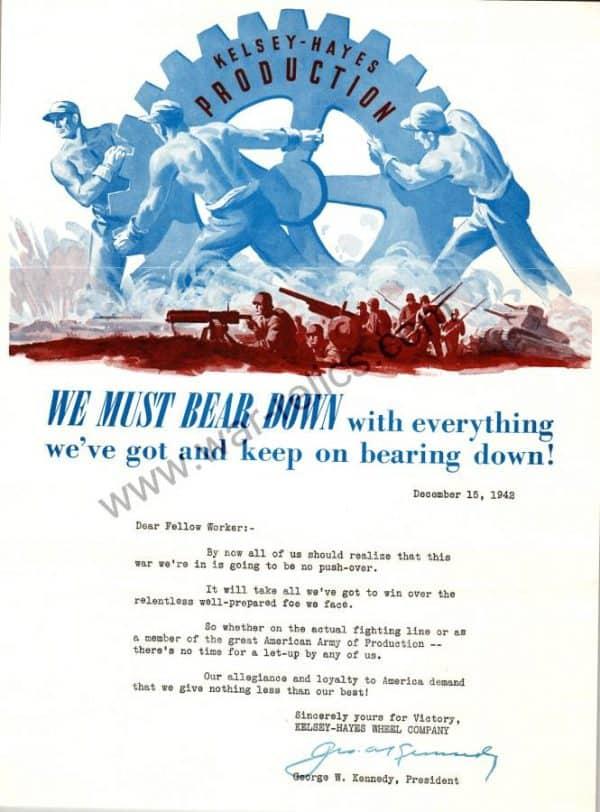 "Kelsey-Hayes Wheel Company Propaganda Memo ""GEAR"""