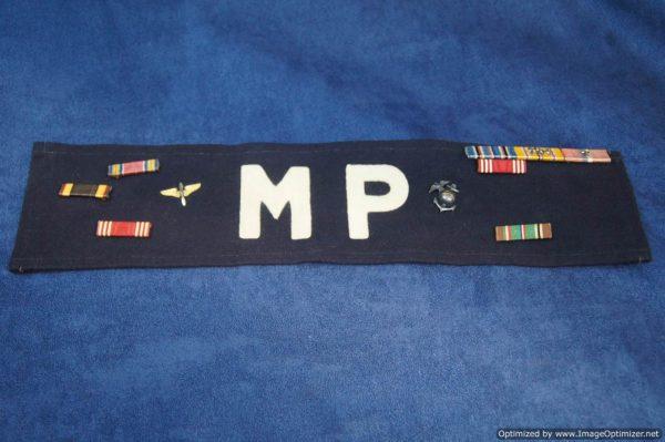 WW2 era U.S. MP armband with vet decorations