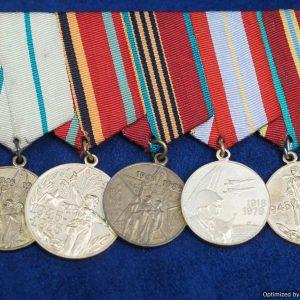 SGML-1393 Soviet cold war era 5pc Medal Bar