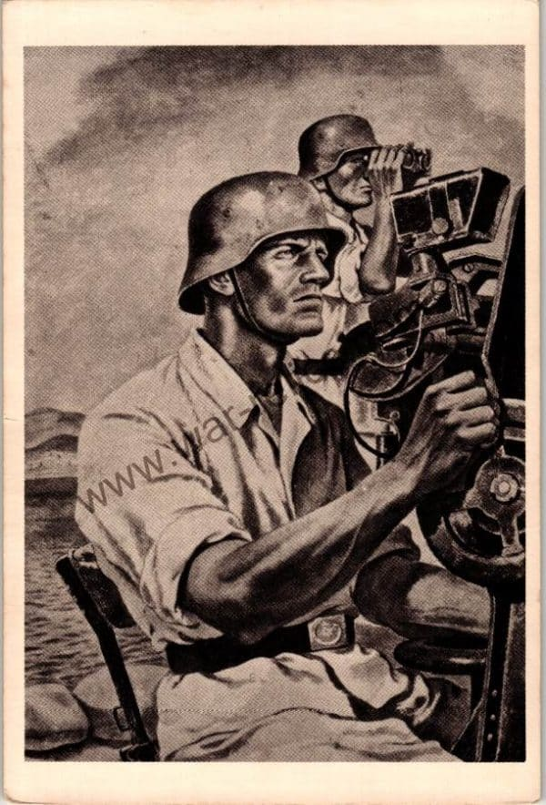 SGML-1374 Flak gun team postcard