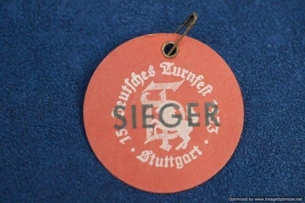Deutsches Turnfest 1933 Stuttgart Sieger (winner) badge