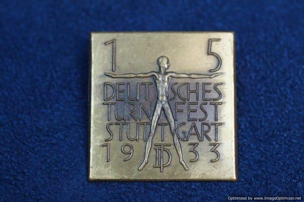 Deutsches Turnfest stuttgart 1933 brass badge