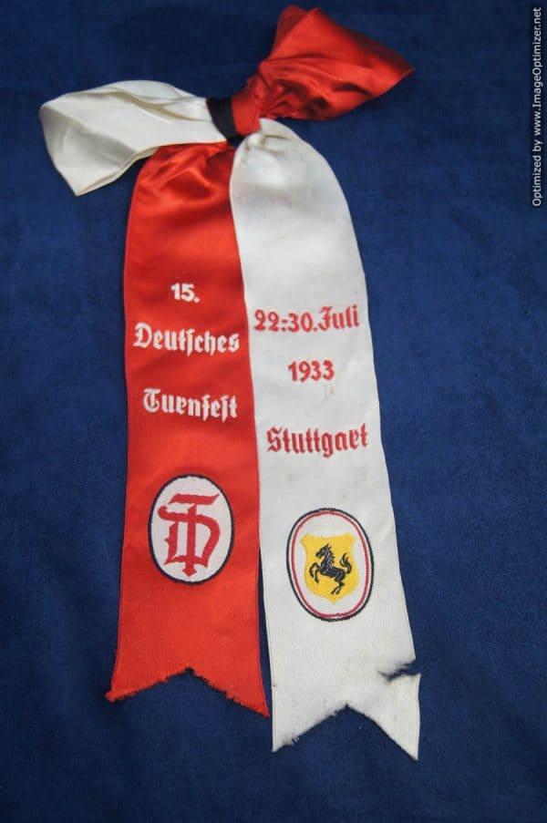 Deutsches Turnfest Stuttgart 1933 Award Ribbon