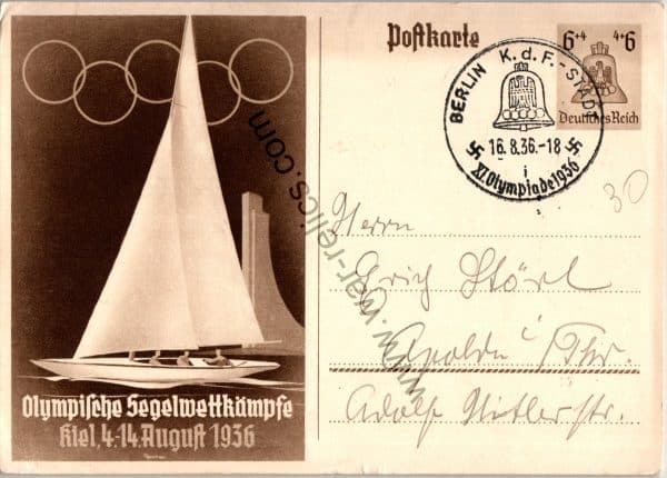 Olympic Post card KDF stamped